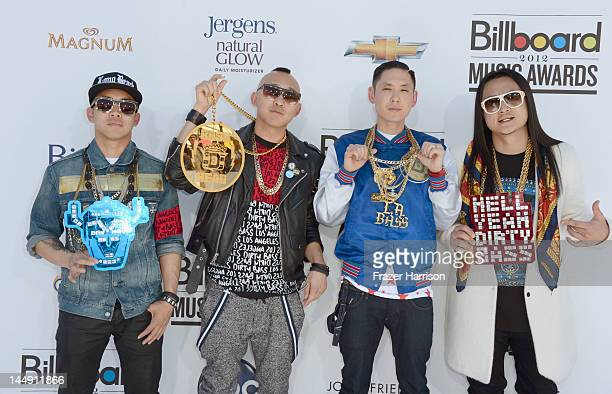 Musicians DJ Virman Prohgress Kev Nish and JSplif of Far East Movement arrive at the 2012 Billboard Music Awards held at the MGM Grand Garden Arena...