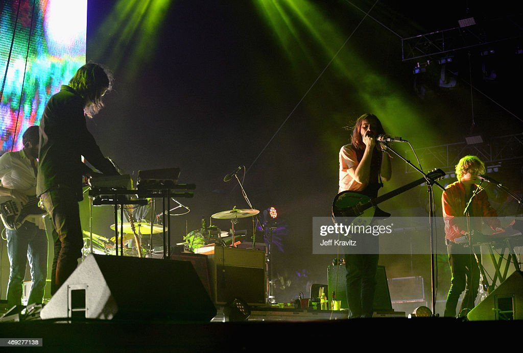 Musicians Dominic Simper Kevin Parker and Jay Watson of Tame Impala perform onstage during day 1 of the 2015 Coachella Valley Music Arts Festival at...