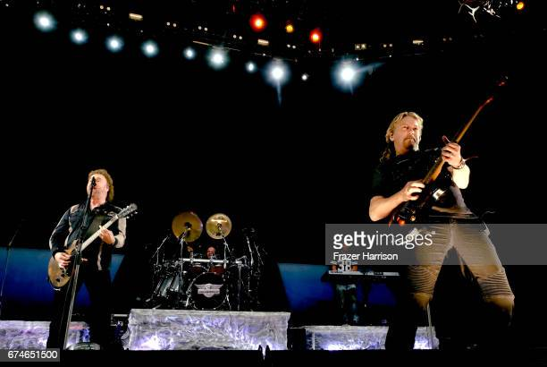 Musicians Don Barnes and Danny Chauncey of 38 Special perform on the Palomino Stage during day 1 of 2017 Stagecoach California's Country Music...