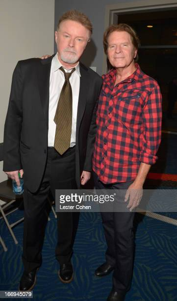 Musicians Don Henley and John Fogerty backstage during the 28th Annual Rock and Roll Hall of Fame Induction Ceremony at Nokia Theatre LA Live on...