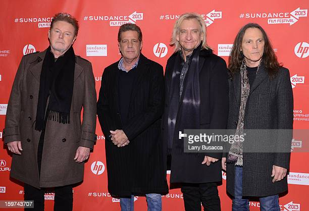 Musicians Don Henley Glenn Frey Joe Walsh and Timothy B Schmit of The Eagles arrive at the 'History of the Eagles Part 1' premiere and QA during the...