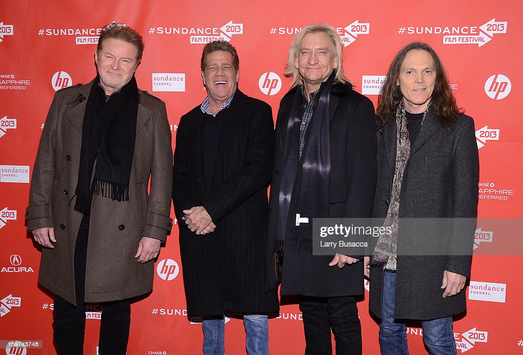 Musicians <a gi-track='captionPersonalityLinkClicked' href=/galleries/search?phrase=Don+Henley&family=editorial&specificpeople=216382 ng-click='$event.stopPropagation()'>Don Henley</a>, <a gi-track='captionPersonalityLinkClicked' href=/galleries/search?phrase=Glenn+Frey&family=editorial&specificpeople=223995 ng-click='$event.stopPropagation()'>Glenn Frey</a>, <a gi-track='captionPersonalityLinkClicked' href=/galleries/search?phrase=Joe+Walsh+-+Singer&family=editorial&specificpeople=223888 ng-click='$event.stopPropagation()'>Joe Walsh</a> and <a gi-track='captionPersonalityLinkClicked' href=/galleries/search?phrase=Timothy+B.+Schmit&family=editorial&specificpeople=564214 ng-click='$event.stopPropagation()'>Timothy B. Schmit</a> of The Eagles arrive at the 'History of the Eagles Part 1' premiere and Q&A during the 2013 Sundance Film Festival at Eccles Theater on January 19, 2013 in Park City, Utah.