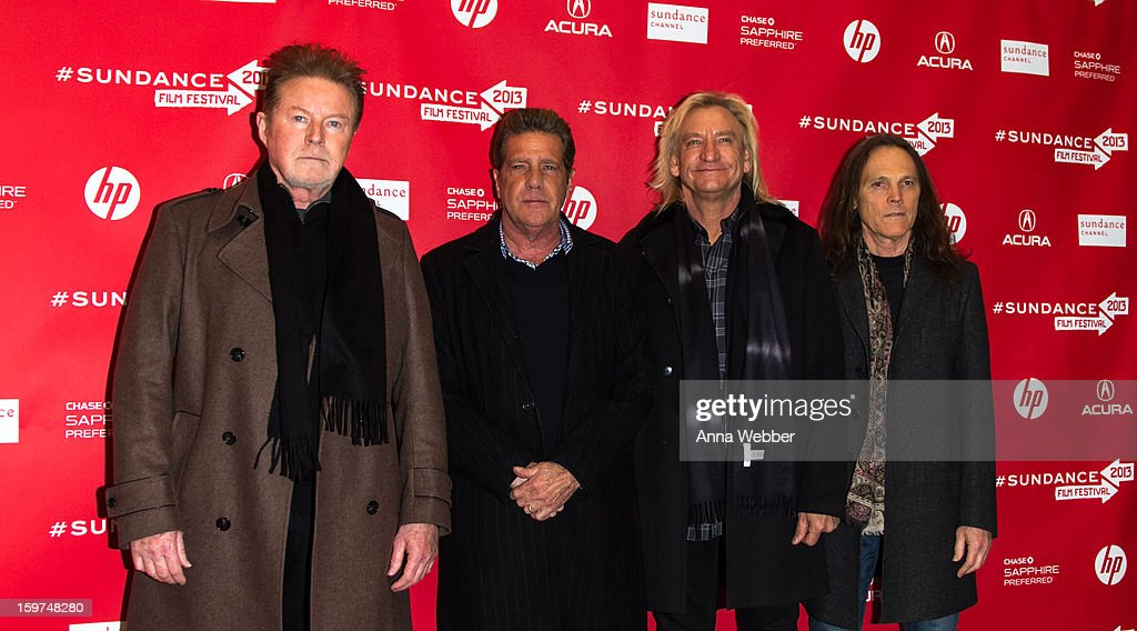 Musicians <a gi-track='captionPersonalityLinkClicked' href=/galleries/search?phrase=Don+Henley&family=editorial&specificpeople=216382 ng-click='$event.stopPropagation()'>Don Henley</a>, <a gi-track='captionPersonalityLinkClicked' href=/galleries/search?phrase=Glenn+Frey&family=editorial&specificpeople=223995 ng-click='$event.stopPropagation()'>Glenn Frey</a>, <a gi-track='captionPersonalityLinkClicked' href=/galleries/search?phrase=Joe+Walsh+-+Singer&family=editorial&specificpeople=223888 ng-click='$event.stopPropagation()'>Joe Walsh</a> and <a gi-track='captionPersonalityLinkClicked' href=/galleries/search?phrase=Timothy+B.+Schmit&family=editorial&specificpeople=564214 ng-click='$event.stopPropagation()'>Timothy B. Schmit</a> of The Eagles arrive to the 'History of the Eagles' Premiere - 2013 Park City on January 19, 2013 in Park City, Utah.