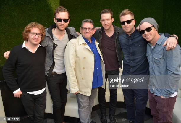 Musicians Drew Brown Brent Kutzle Chairman/CEO of Universal Music International Lucian Grainge musicians Zach Filkins Ryan Tedder and Eddie Fisher of...