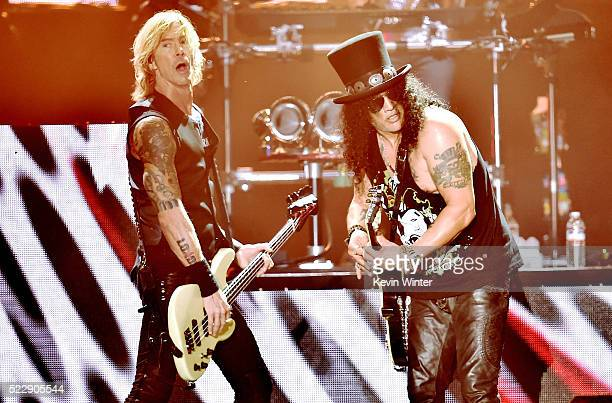 Musicians Duff McKagan and Slash of Guns N' Roses perform onstage during day 2 of the 2016 Coachella Valley Music Arts Festival Weekend 1 at the...