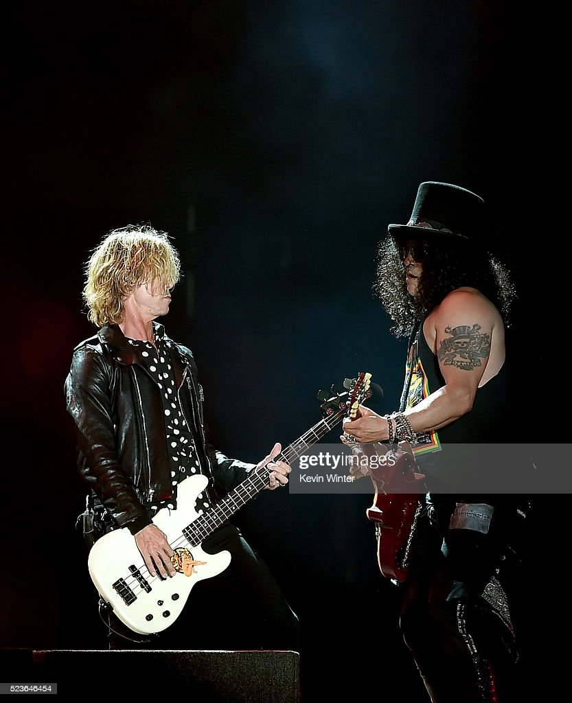 Musicians Duff McKagan (L) and Slash of Guns N' Roses perform onstage during day 2 of the 2016 Coachella Valley Music & Arts Festival Weekend 2 at the Empire Polo Club on April 23, 2016 in Indio, California.