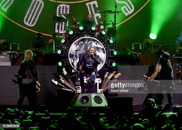 Musicians Duff McKagan Axl Rose Frank Ferrer and Slash of Guns N' Roses perform onstage during day 2 of the 2016 Coachella Valley Music Arts Festival...