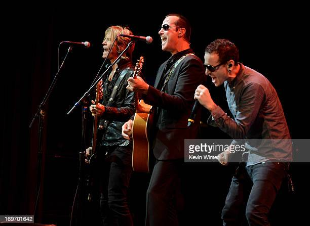 Musicians Duff McKagan Robert DeLeo and Chester Bennington perform at the 9th Annual MusiCares MAP Fund Benefit Concert at Club Nokia on May 30 2013...