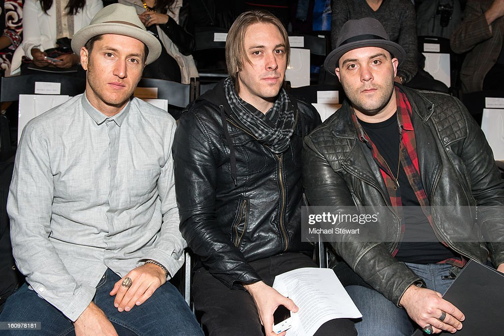 Musicians Dustin Bath, Josh Mervin and Nathan James of Early Morning Rebel attend CZAR By Cesar Galindo during Fall 2013 Mercedes-Benz Fashion Week at The Studio at Lincoln Center on February 8, 2013 in New York City.