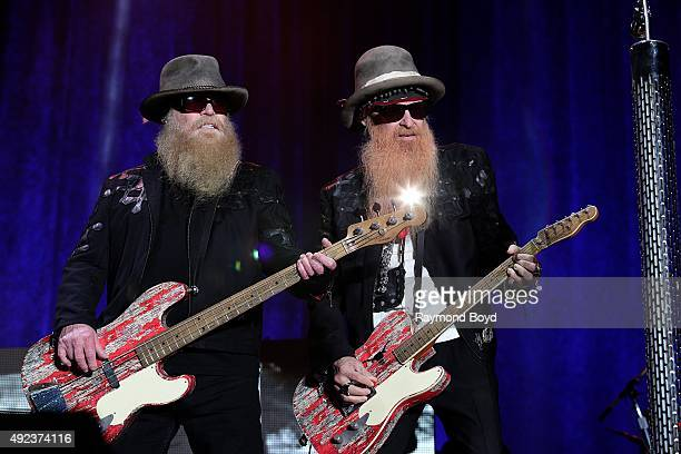 Musicians Dusty Hill and Billy Gibbons from ZZ Top performs during the 'Louder Than Life' festival at Champions Park on October 4 2015 in Louisville...