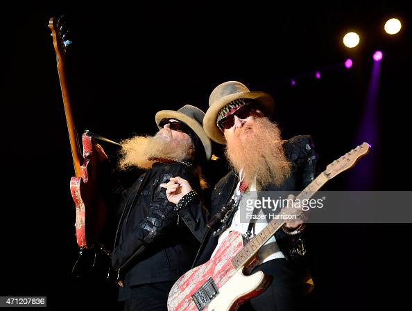 Musicians Dusty Hill and Billy Gibbons of ZZ Top perform onstage during day two of 2015 Stagecoach California's Country Music Festival at The Empire...