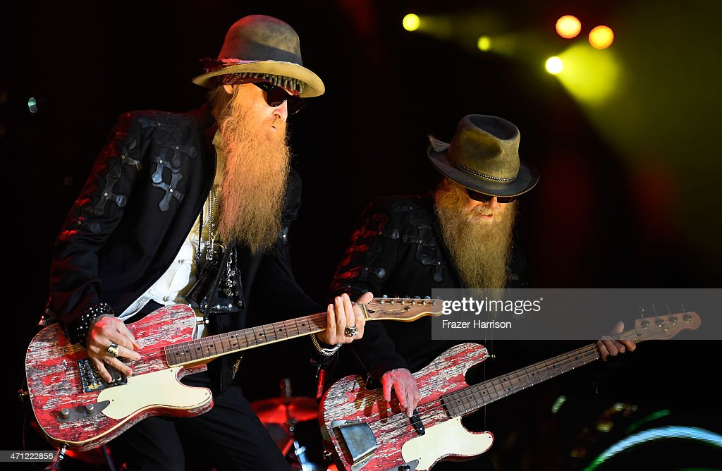 Musicians Dusty Hill (L) and Billy Gibbons of ZZ Top perform onstage during day two of 2015 Stagecoach, California's Country Music Festival, at The Empire Polo Club on April 25, 2015 in Indio, California.