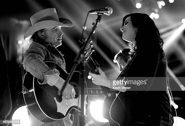 Musicians Dwight Yoakam and Brandy Clark rehearse onstage during The 57th Annual GRAMMY Awards at the Staples Center on February 6 2015 in Los...