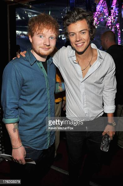 COVERAGE*** Musicians Ed Sheeran and Harry Styles of One Direction attend the 2013 Teen Choice Awards at Gibson Amphitheatre on August 11 2013 in...