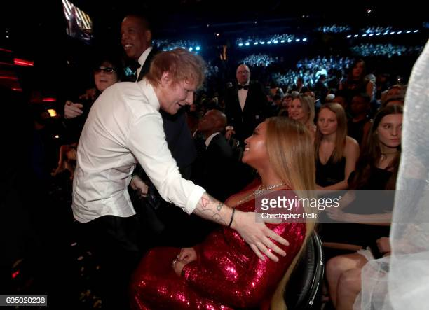 Musicians Ed Sheerand and Beyonce during The 59th GRAMMY Awards at STAPLES Center on February 12 2017 in Los Angeles California