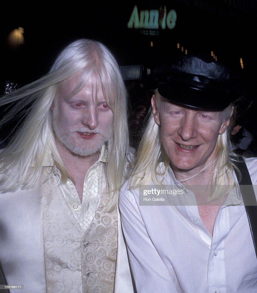 Musicians Edgar Winter and Johnny Winter attend the opening of 'Annie' on April 21, 1977 at the Alvin Theater in New York City.