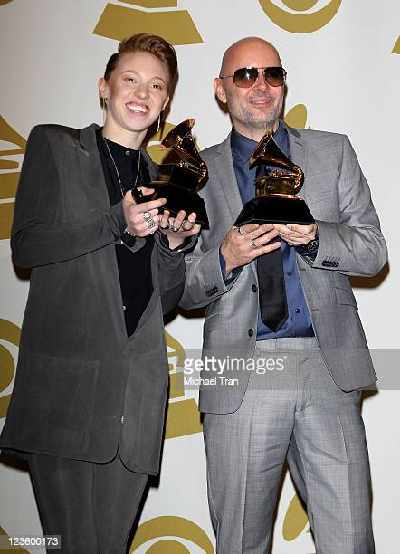 Musicians Eleanor Kate Jackson and Ben Langmaid of La Roux pose in the press room at The 53rd Annual GRAMMY Awards held at Staples Center on February...