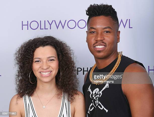 Musicians Elena Pinderhughes and Christian Scott backstage at Hollywood Bowl Presents The 38th Anniversary Playboy Jazz Festival Day 2 at the...
