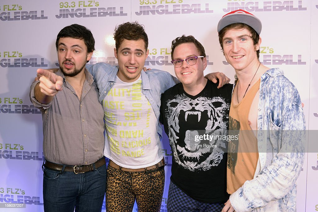 Musicians Eli Maiman, Kevin Ray, Sean Waugaman and Nicholas Petricca of Walk The Moon attend 93.3 FLZ's Jingle Ball 2012 at Tampa Bay Times Forum on December 9, 2012 in Tampa, Florida.
