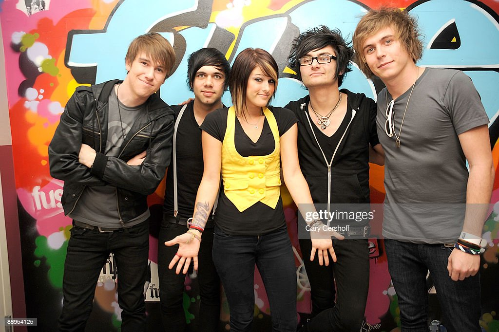 Musicians Elliott James, Mike Gentile, Cassadee Pope, Jersey Moriarity, and Alex Lipshaw of the band Hey Monday pose for pictures after visiting fuse's 'No. 1 Countdown' at fuse Studios on July 9, 2009 in New York City.