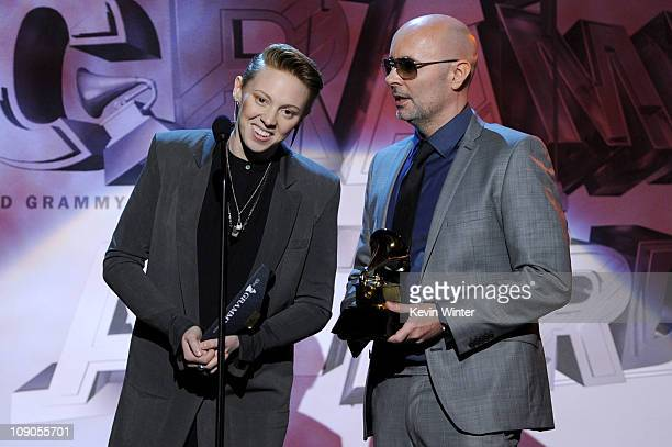 Musicians Elly Jackson and Ben Langmaid from the band La Roux accept the Best Electronic/Dance Album Award onstage during The 53rd Annual GRAMMY...