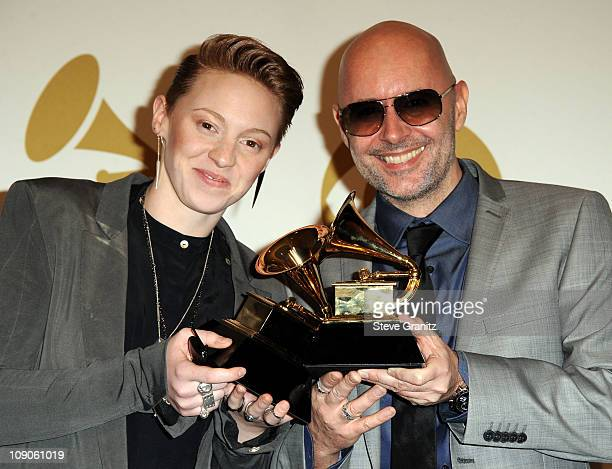 Musicians Elly Jackson and Ben Langmaid from the band La Roux pose in the press room at The 53rd Annual GRAMMY Awards held at Staples Center on...