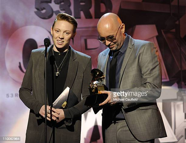 Musicians Elly Jackson and Ben Langmaid of La Roux onstage during The 53rd Annual GRAMMY Awards PreTelecast held at the Los Angeles Convention Center...