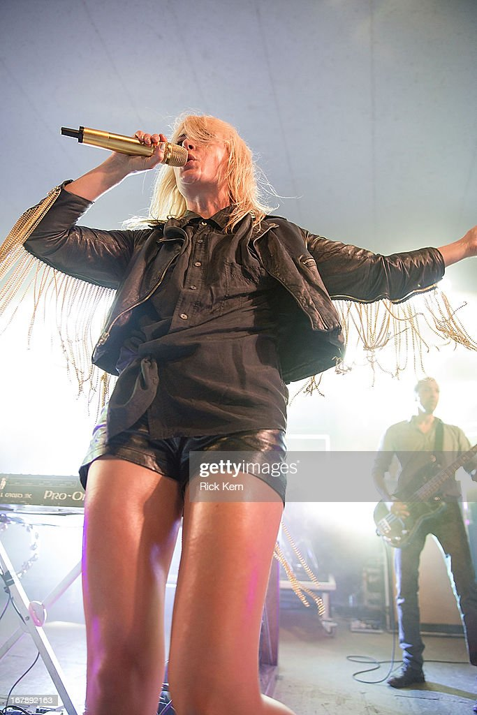Musicians <a gi-track='captionPersonalityLinkClicked' href=/galleries/search?phrase=Emily+Haines&family=editorial&specificpeople=557275 ng-click='$event.stopPropagation()'>Emily Haines</a> and Joshua Winstead of Metric perform in concert at Stubb's Bar-B-Q on May 1, 2013 in Austin, Texas.