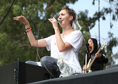 Musicians Emily Kokal and Jenny Lee Lindberg of Warpaint perform at the Twin Peaks Stage during day 1 of the 2014 Outside Lands Music and Arts...