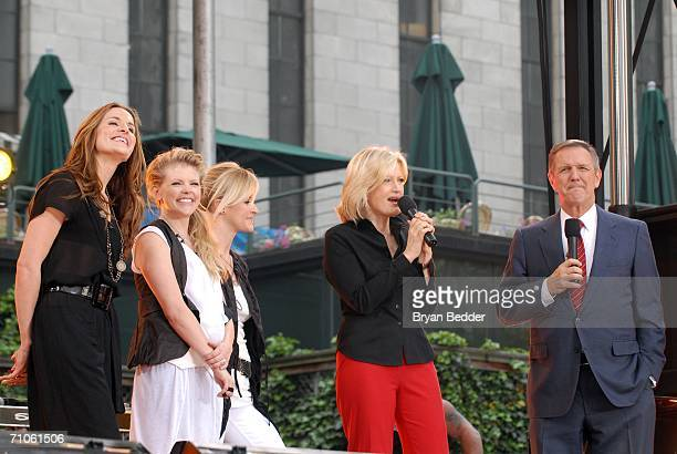 Musicians Emily Robinson Natalie Maines and Martie Maguire of the Dixie Chicks appear with ABC hosts Diane Sawyer and Charles Gibson onstage on ABC's...