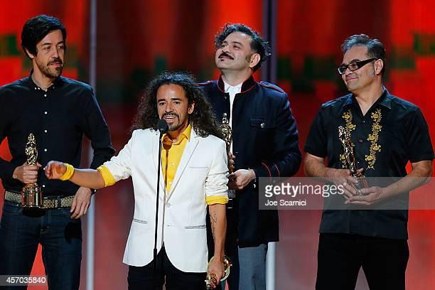 Musicians Emmanuel del Real Ruben Isaac Albarran Ortega Enrique Rangel and Joselo Rangel of Cafe Tacvba accept the NCLR ALMA de Tu Mundo Award...
