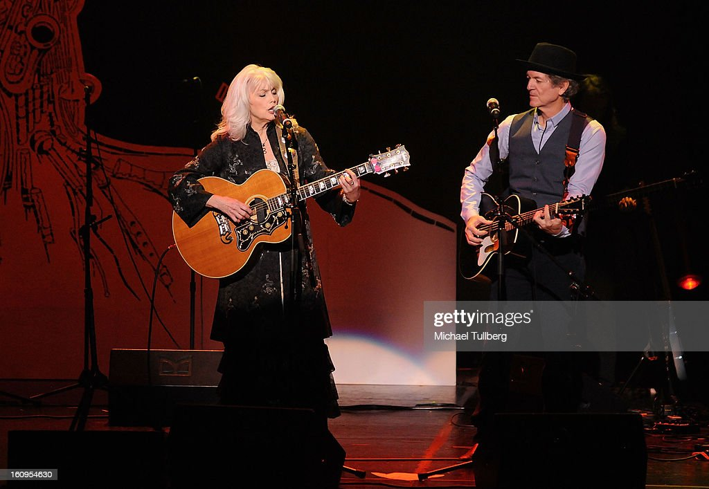 Musicians <a gi-track='captionPersonalityLinkClicked' href=/galleries/search?phrase=Emmylou+Harris&family=editorial&specificpeople=240263 ng-click='$event.stopPropagation()'>Emmylou Harris</a> and <a gi-track='captionPersonalityLinkClicked' href=/galleries/search?phrase=Rodney+Crowell&family=editorial&specificpeople=653146 ng-click='$event.stopPropagation()'>Rodney Crowell</a> perform live at the 15th Annual GRAMMY Foundation Music Preservation Project's 'Play It Forward: A Celebration Of Music's Evolution And Influencers' at Saban Theatre on February 7, 2013 in Beverly Hills, California.
