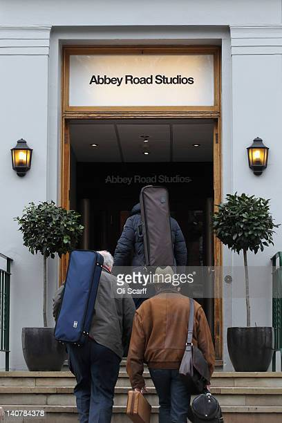 Musicians enter Abbey Road Studios in St John's Wood on March 5 2012 in London England Abbey Road in North London has been made famous by 1960s bands...