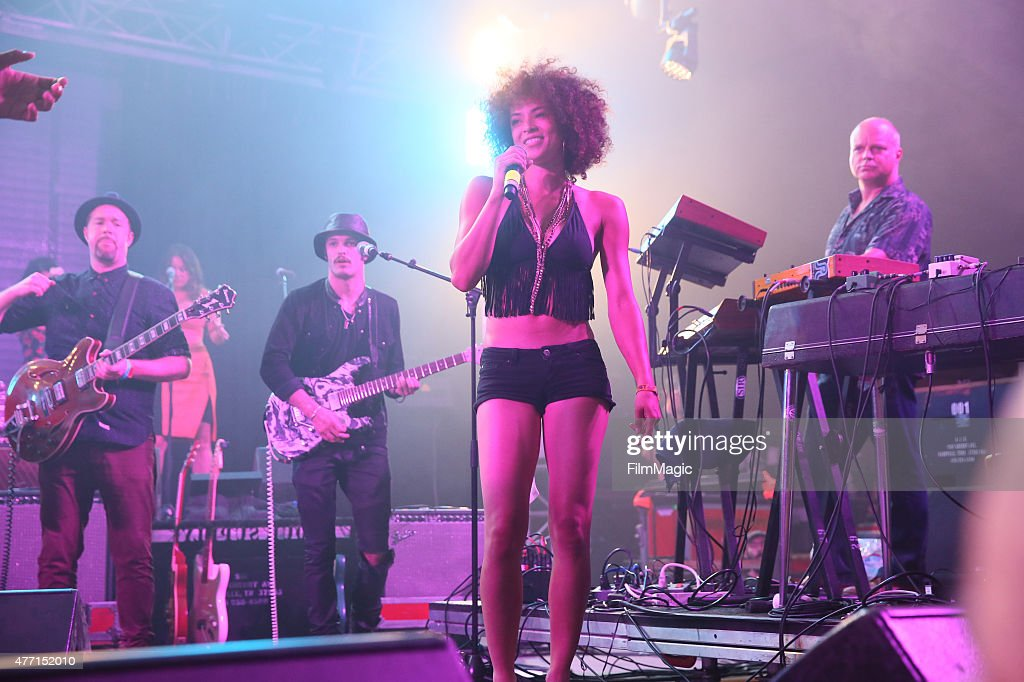Musicians Eric Krasno Jason Huber Kandace Springs and John Medeski perform onstage at The Other Tent as part of the SuperJam during Day 3 of the 2015...