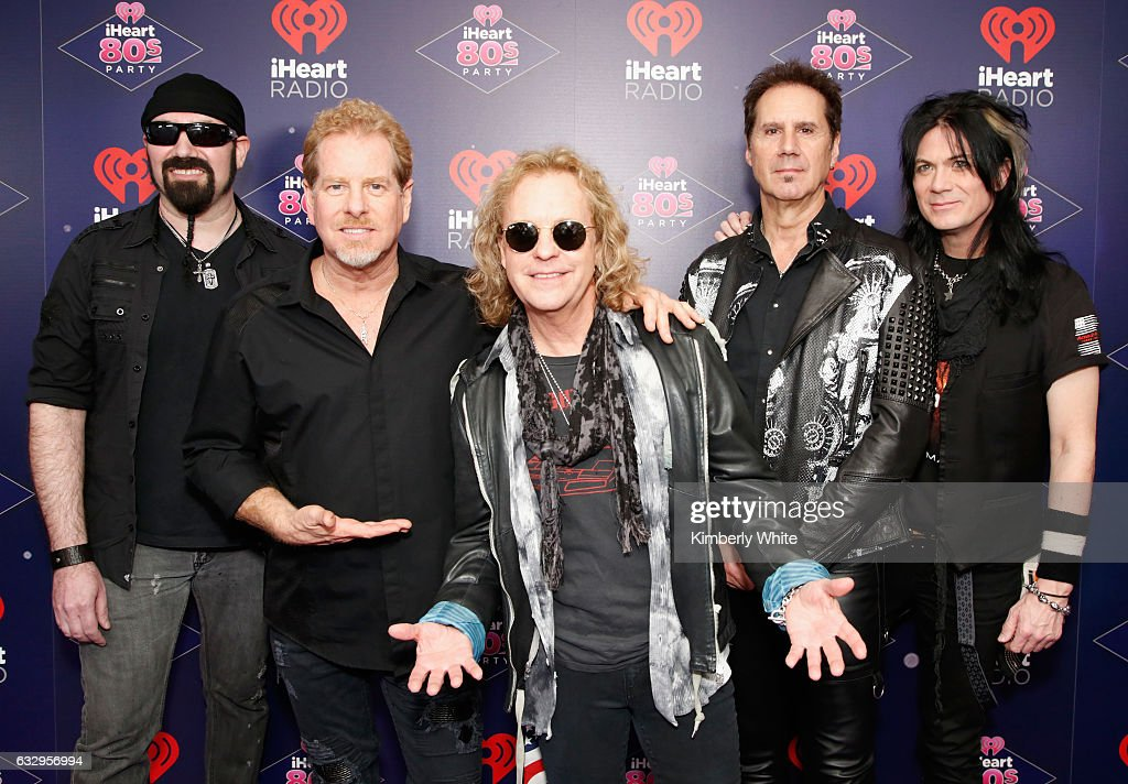 Musicians Eric Levy, Brad Gillis, Jack Blades, Kelly Keagy and Keri Kelli of Night Ranger arrive at the iHeart80s Party 2017 at SAP Center on January 28, 2017 in San Jose, California.