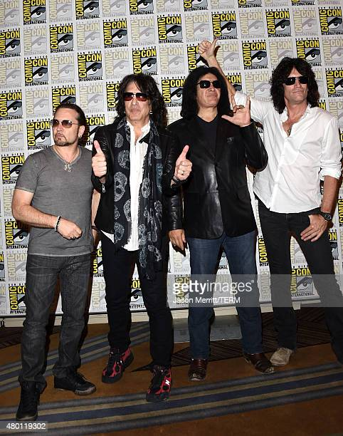 Musicians Eric Singer Paul Stanley Gene Simmons and Tommy Thayer of Kiss attend the ScoobyDoo and Kiss Rock and Roll Mystery Press Room during...
