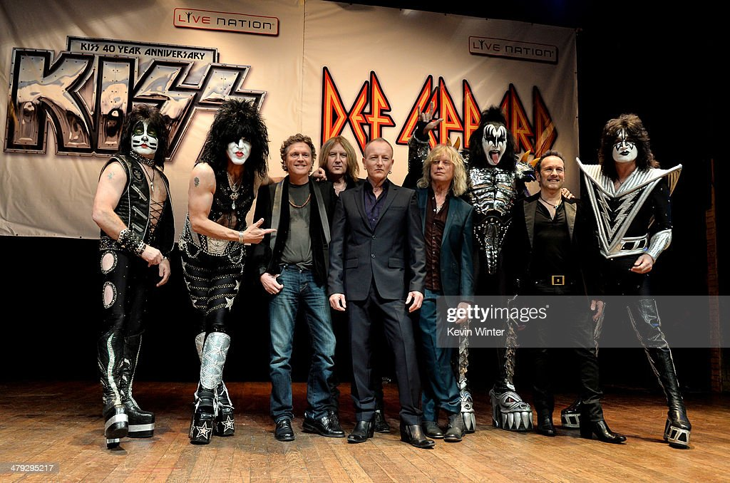 Musicians Eric Singer, Paul Stanley, Rick Allen, Joe Elliott, Phil Collen, Rick Savage, Gene Simmons, Vivian Campbell and Tommy Thayer of KISS and Def Leppard announce the '2014 Heroes Tour' at House of Blues on March 17, 2014 in West Hollywood, California.