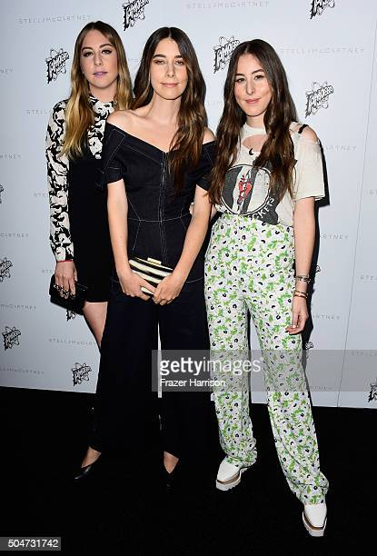 Musicians Este Haim Danielle Haim and Alana Haim attend Stella McCartney Autumn 2016 Presentation at Amoeba Music on January 12 2016 in Los Angeles...