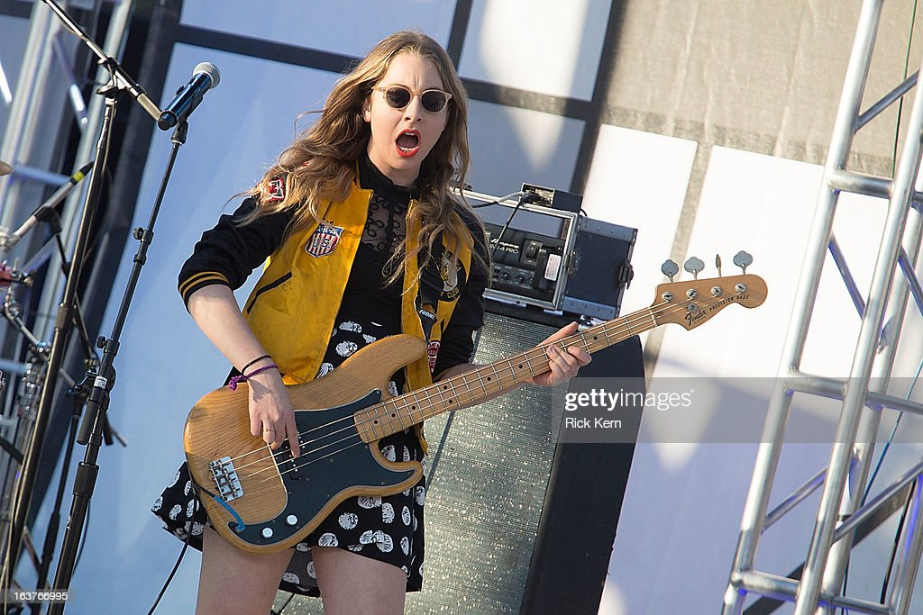 Musicians <a gi-track='captionPersonalityLinkClicked' href=/galleries/search?phrase=Este+Haim&family=editorial&specificpeople=2499486 ng-click='$event.stopPropagation()'>Este Haim</a> of Haim performs on stage during the 9th Annual mtvU Woodie Awards on March 14, 2013 in Austin, Texas.