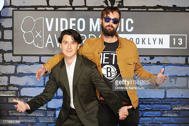 Musicians Ezra Koenig and Christopher Tomson of Vampire Weekend attend the 2013 MTV Video Music Awards at the Barclays Center on August 25 2013 in...