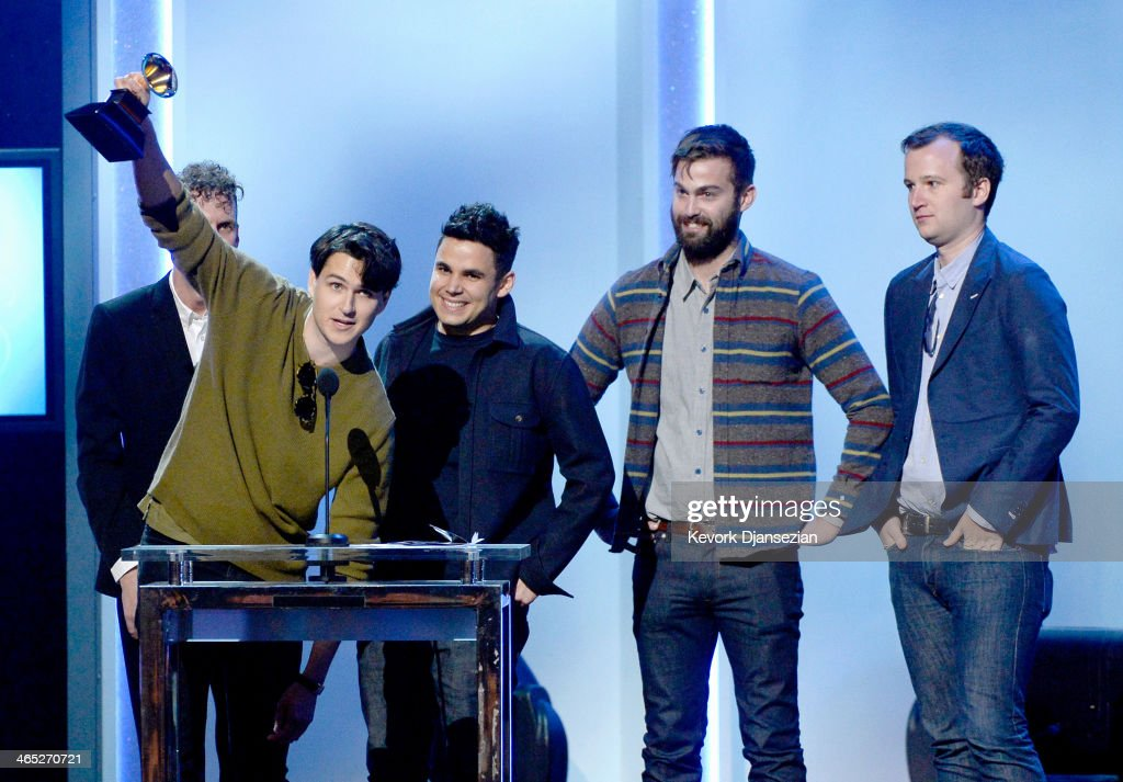 Musicians Ezra Koenig, Rostam Batmanglij, Chris Tomson, and Chris Baio of Vampire Weekend accept the Best Alternative Music Album award for 'Modern Vampires of the City' onstage during the 56th GRAMMY Awards Pre-Telecast Show at Nokia Theatre L.A. Live on January 26, 2014 in Los Angeles, California.