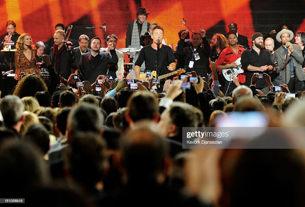 Musicians Faith Hill, Garry Tallent, Sting, Ted Dwane, Ken Casey, Ben Lovett, honoree Bruce Springsteen, musicians Jim James, Tom Morello, Zac Brown, Ben Harper perform onstage at The 2013 MusiCares Person Of The Year Gala Honoring Bruce Springsteen at Los Angeles Convention Center on February 8, 2013 in Los Angeles, California.