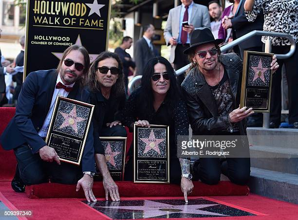 Musicians Fher Olvera Alex Gonzalez Sergio Vallin and Juan Calleros of the Mexican rock band Maná attend a ceremony honoring them with the 2573rd...