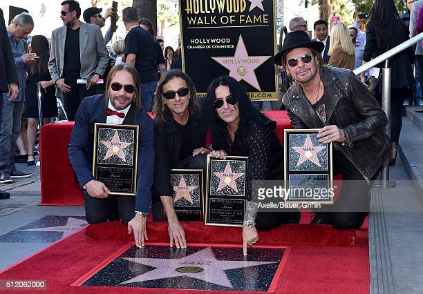 Musicians Fher Olvera Alex Gonzalez Sergio Vallin and Juan Calleros of the band Mana attend the ceremony honoring them with a Star on the Hollywood...