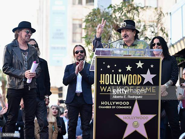Musicians Fher Olvera Juan Calleros Sergio Vallin Carlos Santana and Alex Gonzalez attend a ceremony honoring Maná with the 2573rd Star on the...
