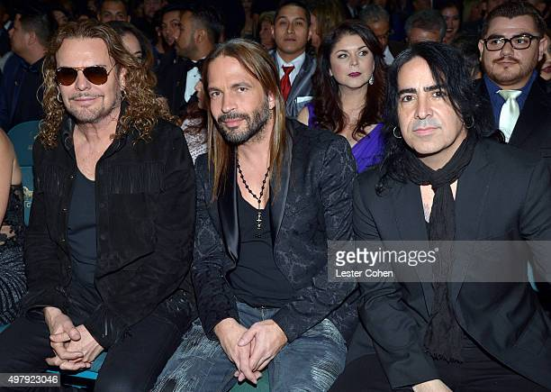Musicians Fher Olvera Sergio Vallin and Alex Gonzalez of Mana attend the 16th Latin GRAMMY Awards at the MGM Grand Garden Arena on November 19 2015...