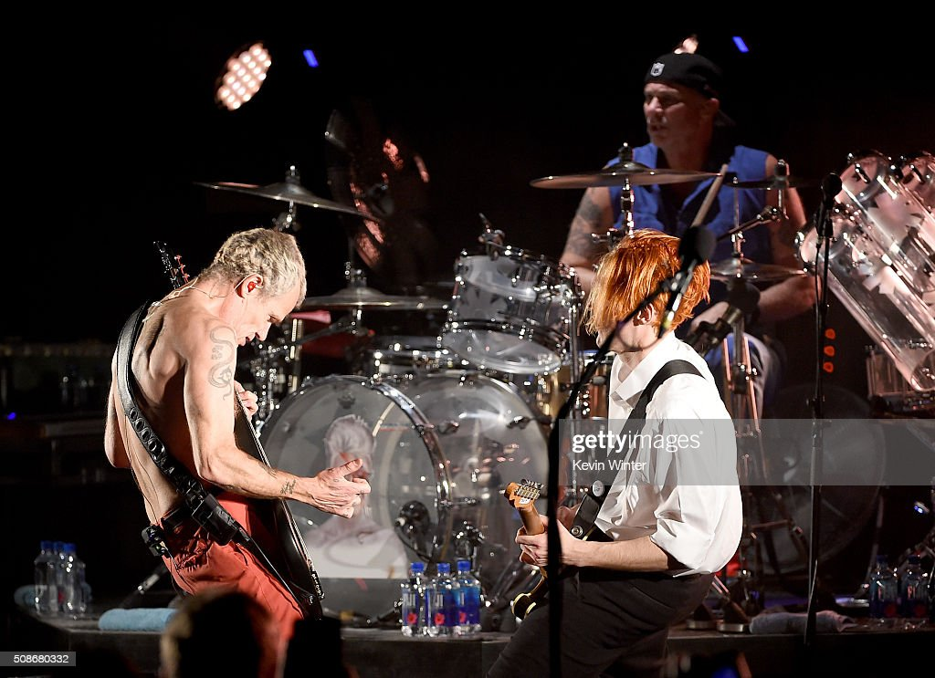 Musicians Flea, Chad Smith and Josh Klinghoffer of the Red Hot Chili Peppers perform onstage during the 'Feel The Bern' fundraiser concert to benefit presidential candidate Bernie Sanders at the Ace Theater Downtown LA on February 5, 2016 in Los Angeles, California.