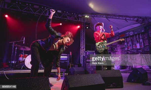 Musicians Fletcher Shears and Wyatt Shears of The Garden perform in concert at Stubb's BarBQ on October 2 2017 in Austin Texas
