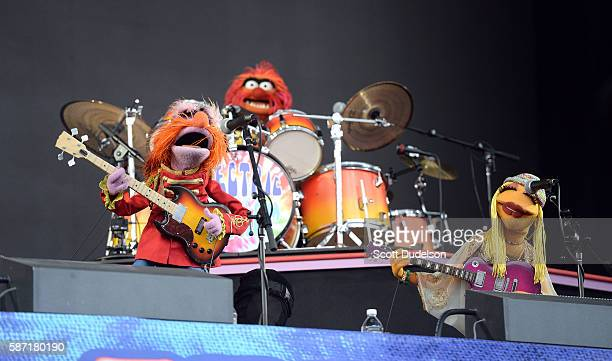 Musicians Floyd Pepper Animal and Janice of the Muppets perform onstage with Dr Teeth and the Electric Mayhem at Golden Gate Park on August 7 2016 in...