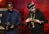 Musicians Frank Ocean and TheDream accept Best Rap/Sung Collaboration award for 'No Church in the Wild' onstage at the 55th Annual GRAMMY Awards at...